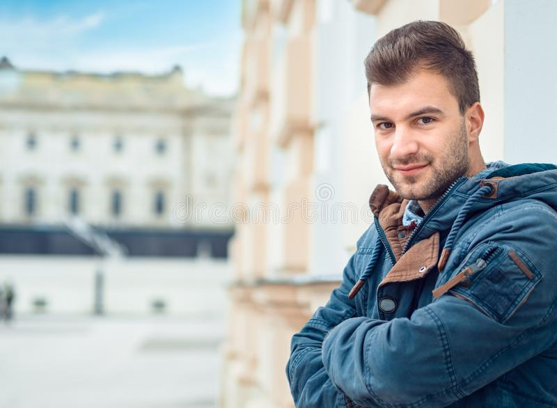 Gorgeous young man . Good looking guy posing. With copyspace for text stock photo