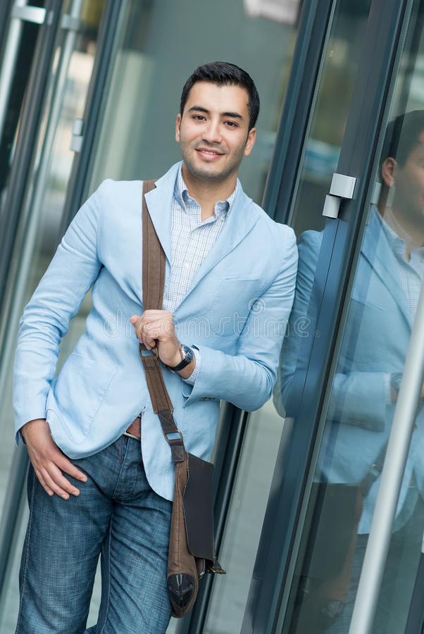 Gorgeous young man standing. Beautiful guy, outdoor - outside royalty free stock images