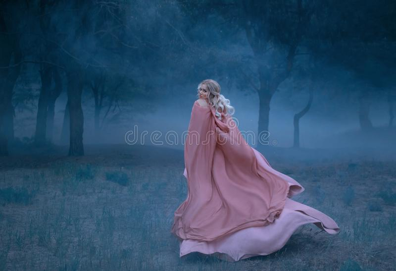 Gorgeous young queen with blond hair runs in a dark and dense scary forest full of white mist, dressed in a long, flying royalty free stock photography