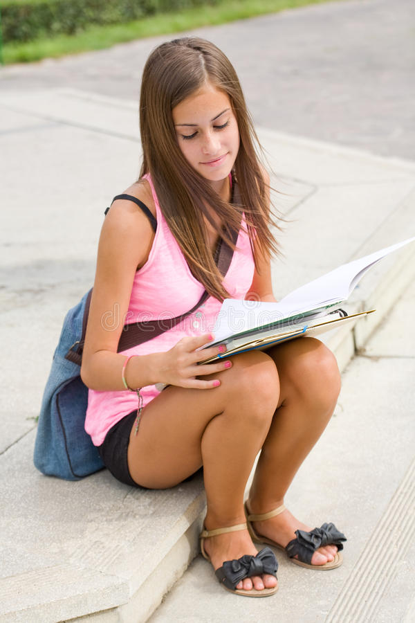 Download Gorgeous Young Student Girl In The Park. Stock Image - Image: 26381609