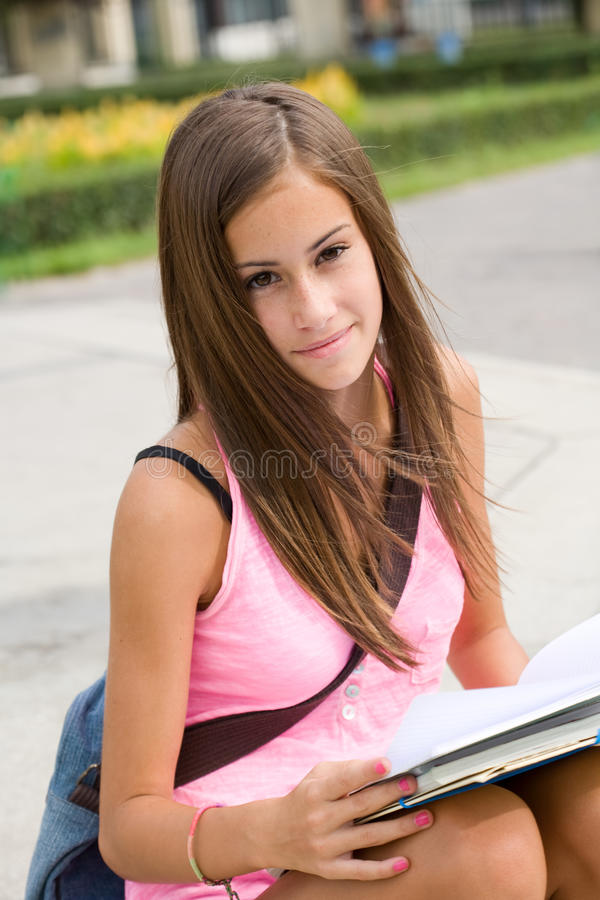 Download Gorgeous Young Student Girl In The Park. Stock Photo - Image: 26381614