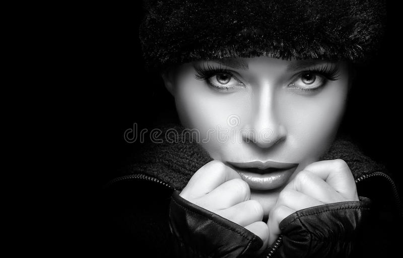 Gorgeous Young Woman in Black Winter Fashion. Monochrome Portrait stock photo