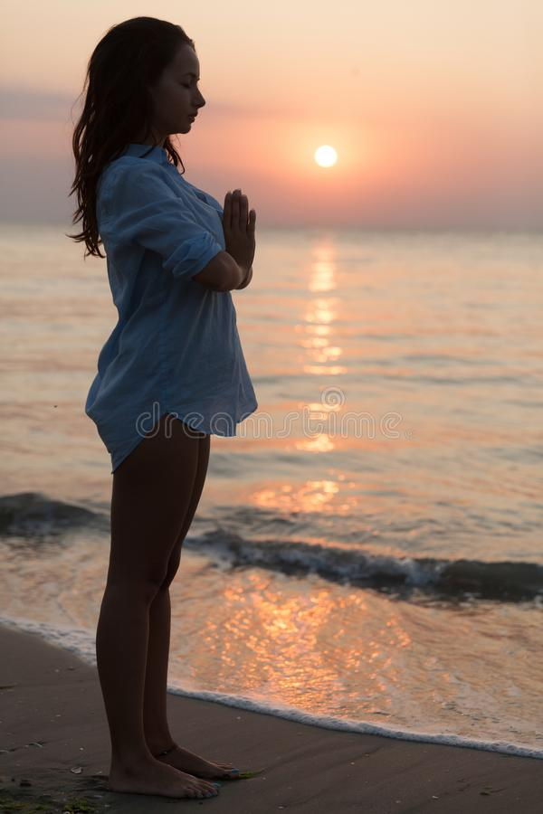Beautiful Woman Portrait. Gorgeous young woman enjoying the quality time with herself at the seaside and beach surroundings royalty free stock photography