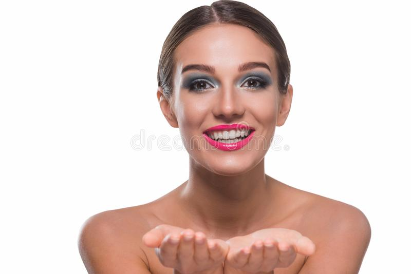 Gorgeous young woman holding stock photography