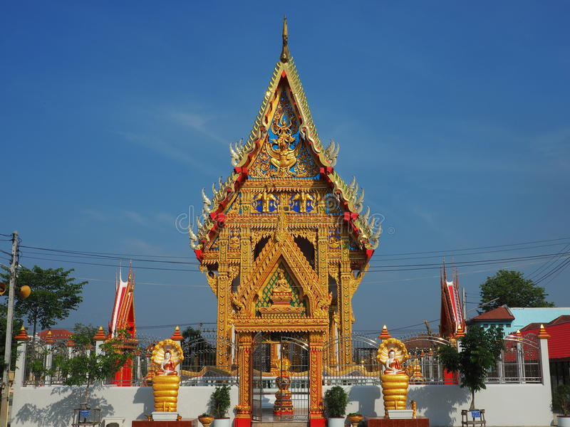 Gorgeously crafted Thai temple stock image