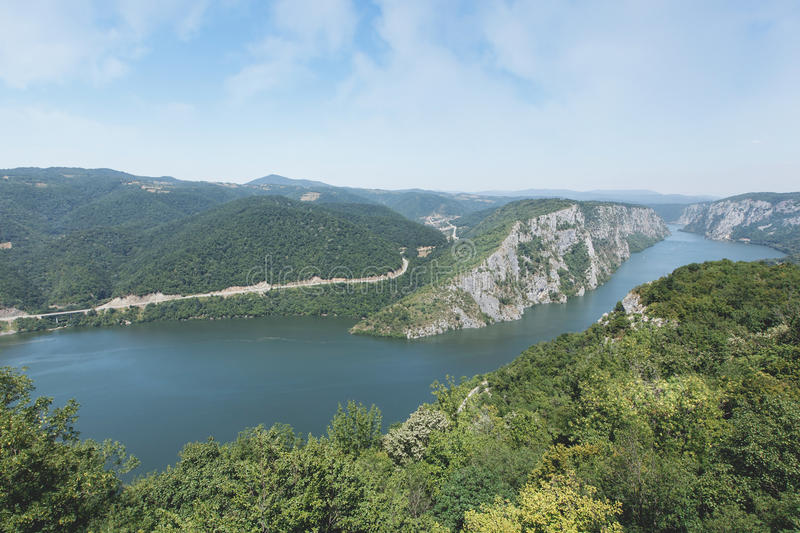 Gorges of the Danube. Danube gorges iron gate on the Serbian-Romanian border. The Djerdap Gorge is one of the largest gorges in Europe. It consists of four stock photo