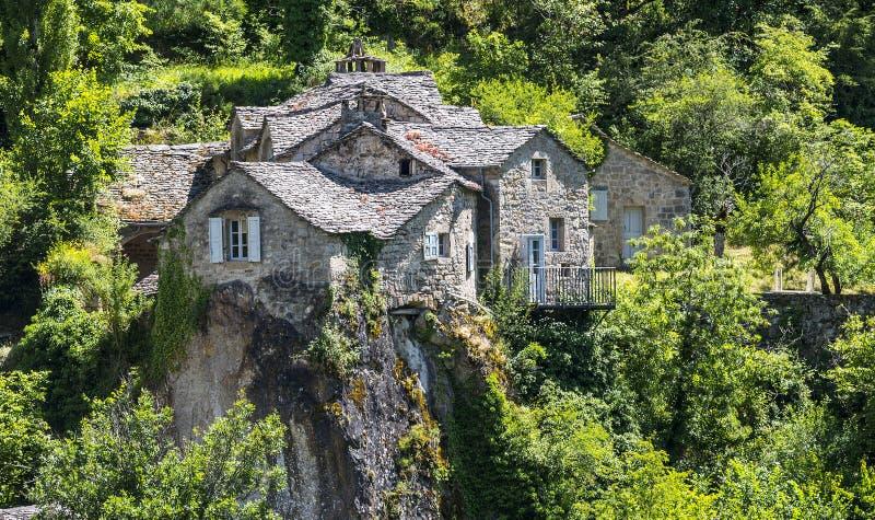 Gorges du el Tarn, pueblo imagen de archivo libre de regalías