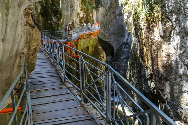 Gorges du Fier walkway, close to Annecy. France stock photos