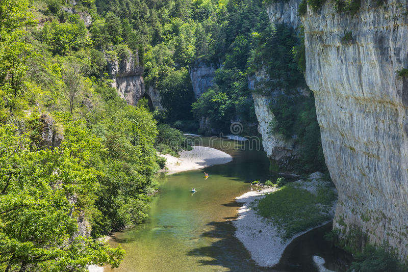 Gorges du Tarn. (Lozere, Linguedoc-Roussillon, France), famous canyon at summer royalty free stock photography