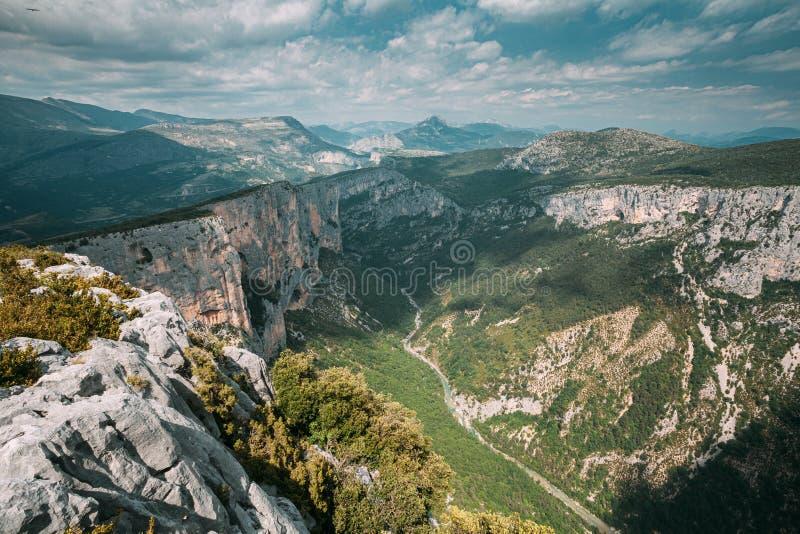 Gorges Du Verdo Vackra landskapet i Gorges Du Verdon i sydöstra Frankrike Provence-Alpes-Cote d`Azur royaltyfri foto