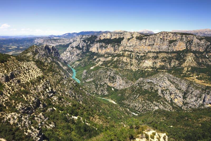 Gorges du Verdon εναέρια άποψη φαραγγιών και ποταμών Άλπεις, Προβηγκία, Φ στοκ εικόνα με δικαίωμα ελεύθερης χρήσης