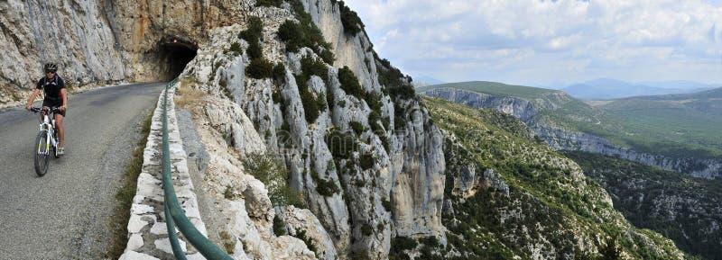 Gorges du Verdon Biking, Provence, France. Mountain scenery at biking along grand canyon du Verdon in France stock photography