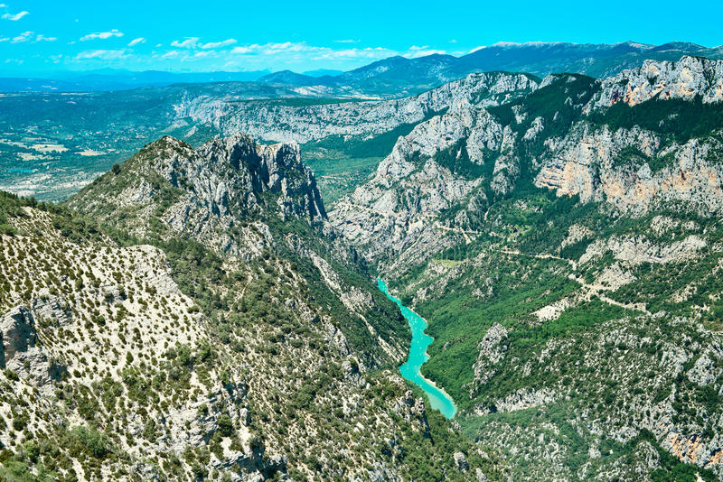 Gorges du Verdon canyon and river. Alps Provence. Gorges du Verdon european canyon and river aerial view. Alps, Provence, France royalty free stock photos