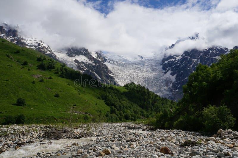 Gorgeus glacier Tetnuldi in Georgia stock image