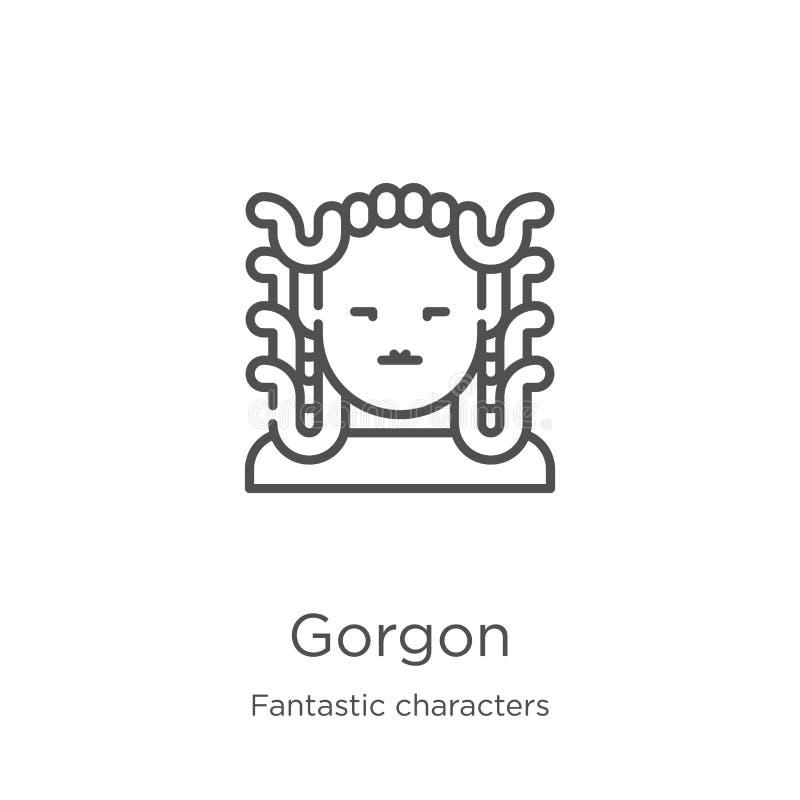 gorgon从意想不到的字符收藏的象传染媒介 稀薄的线gorgon概述象传染媒介例证 概述,稀薄的线 库存例证