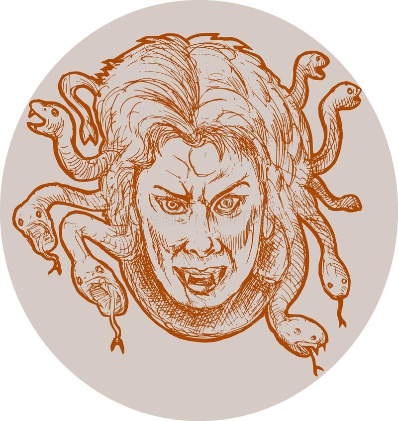 Gorgon Female Monster Medusa Stock Illustration
