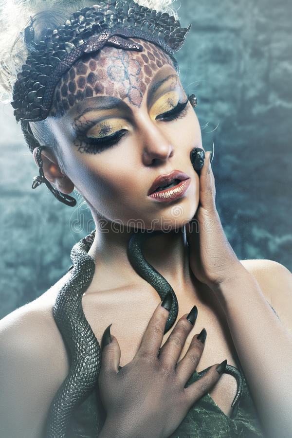 Gorgon girl in dungeon royalty free stock images