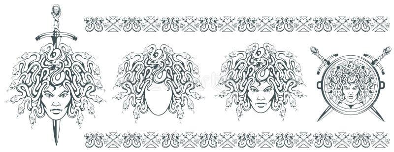 Gorgon Medusa - monstro com uma cara fêmea e serpentes em vez do cabelo espada Cabeça do Medusa Mitologia grega Tradicional tirad ilustração do vetor