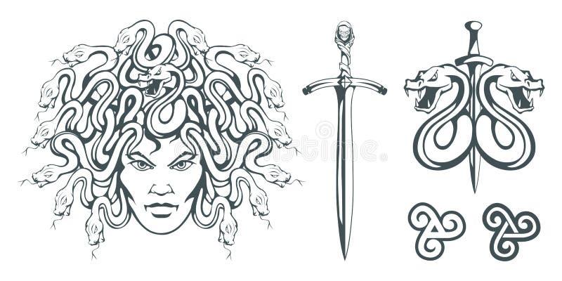 Gorgon Medusa - monstruo con una cara femenina y serpientes en vez del pelo espada Cabeza de la medusa Mitología griega ilustración del vector