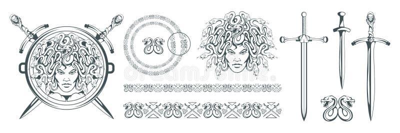 Gorgon Medusa - monstruo con una cara femenina y serpientes en vez del pelo espada Cabeza de la medusa Mitología griega Tradicion libre illustration