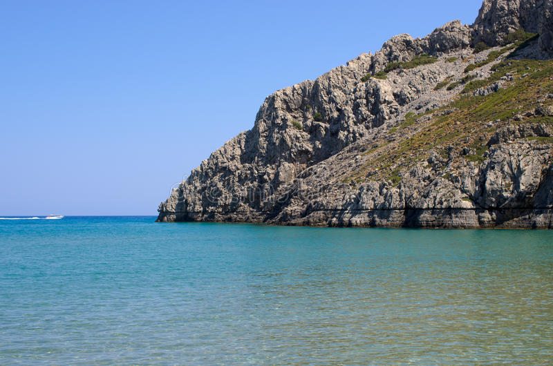 Gorgona strand på den Rhodes ön - Grekland arkivbild