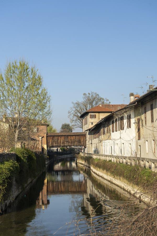 Gorgonzola Milaan, langs Martesana-kanaal royalty-vrije stock foto's