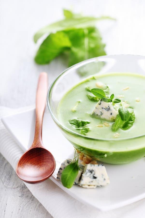 gorgonzola soupspenat royaltyfria foton