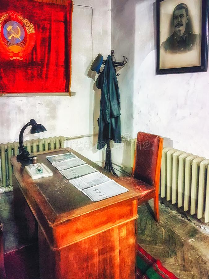 Interior of Stalin cabinet at the Museum of Joseph Stalin in Gori, . Joseph Stalin was the leader of the Soviet Union from stock illustration