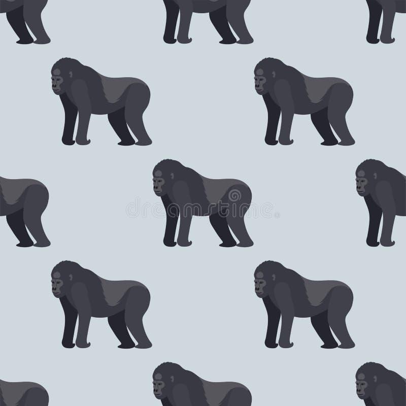 Gorila πιθήκων σπάνιος ζωικός διανυσματικός άνευ ραφής σχεδίων macaque φύσης αρχιεπισκόπων χιμπατζής πίθηκων ζωολογικών κήπων χαρ ελεύθερη απεικόνιση δικαιώματος