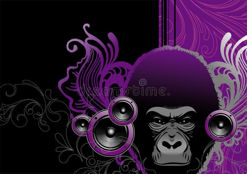 Gorila audio ilustração do vetor