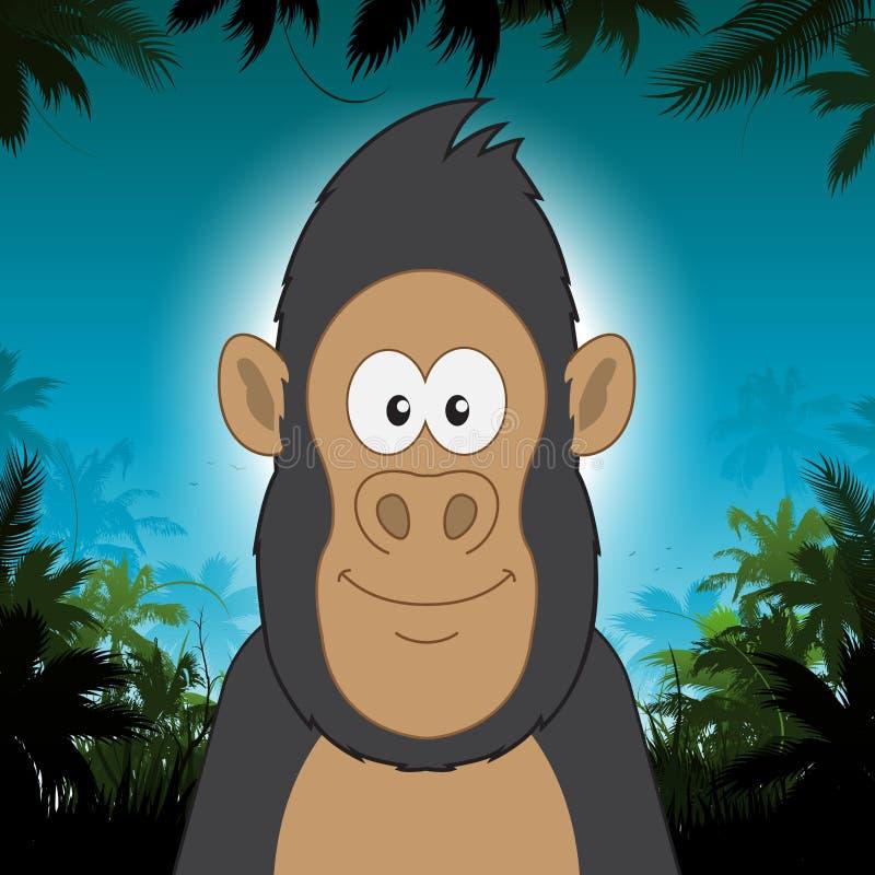 Gorila bonito dos desenhos animados na frente do fundo da selva ilustração royalty free
