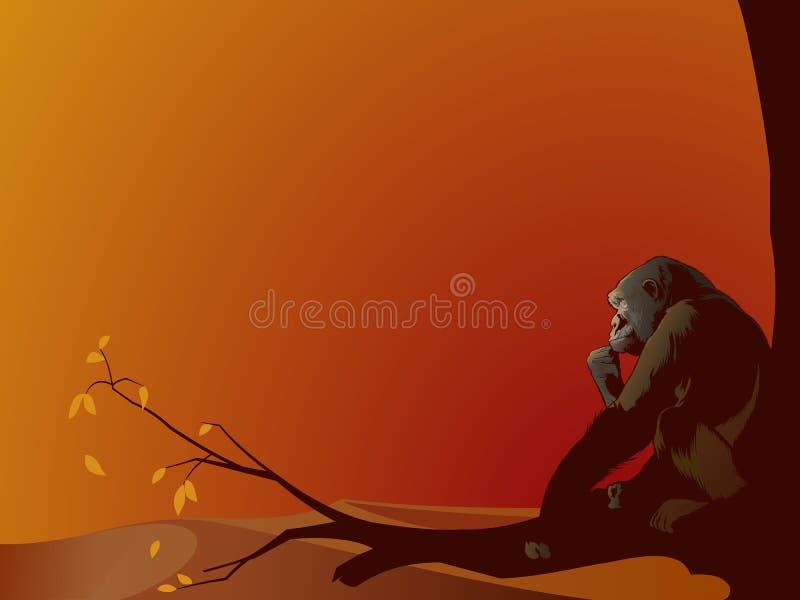 Gorila - contemplando seu futuro ilustração do vetor