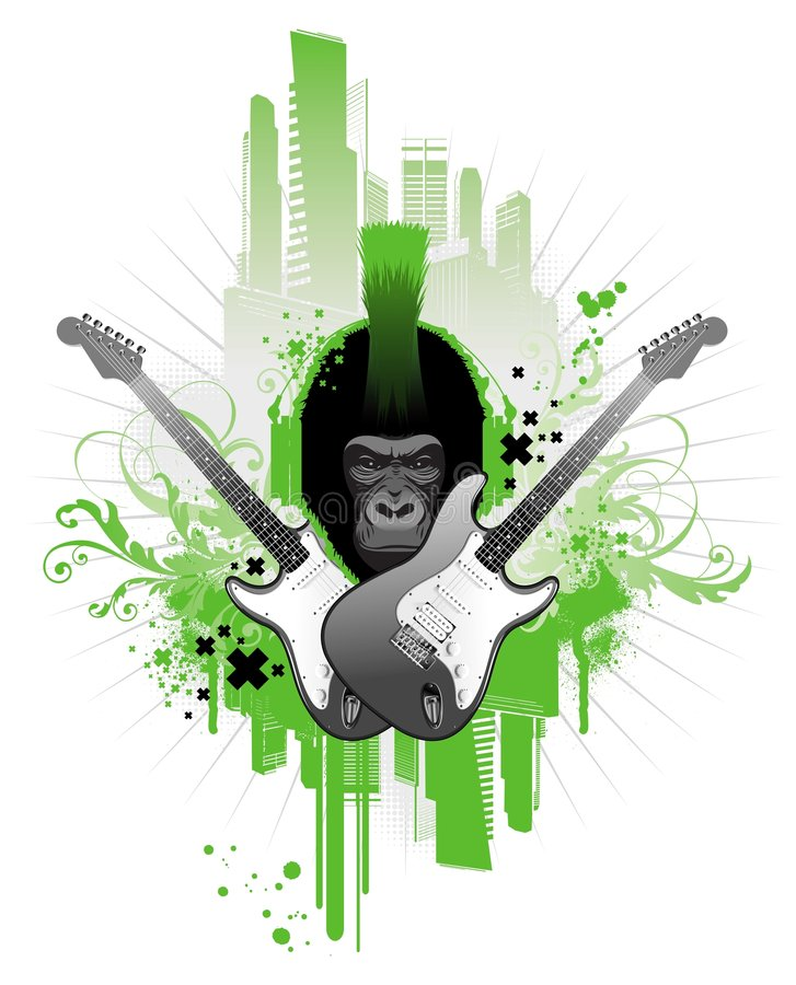Gorila do punk ilustração stock