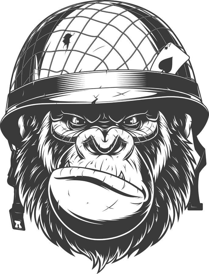 Gorila en el helmetn militar ilustración del vector
