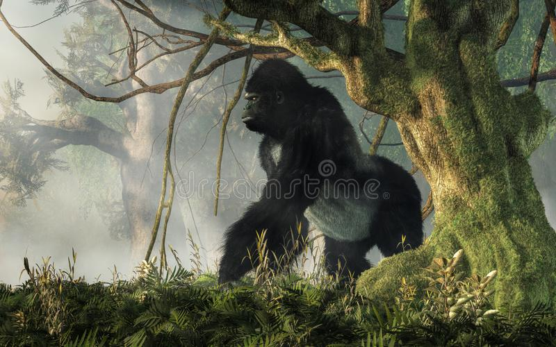 Gorila en la selva stock de ilustración