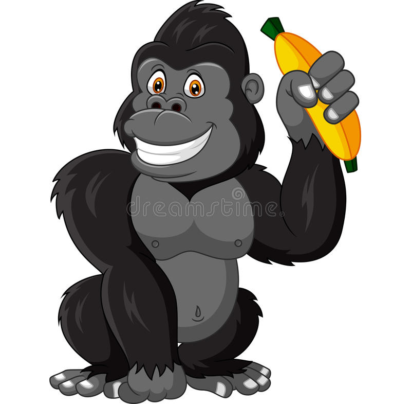 Gorila engraçado dos desenhos animados que guarda a banana ilustração royalty free