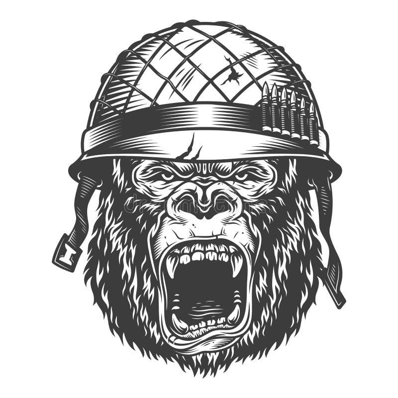Gorila enojado en estilo monocromático ilustración del vector