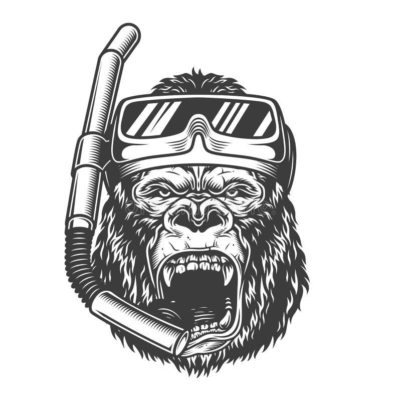 Gorila enojado monocromático del vintage ilustración del vector