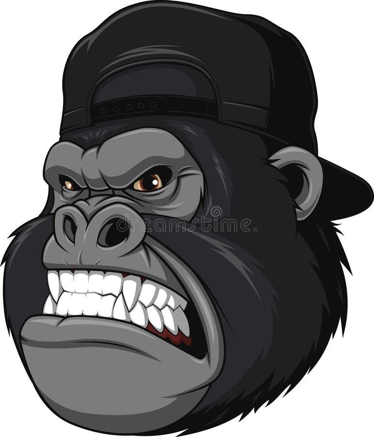Gorila feroz en un casquillo ilustración del vector