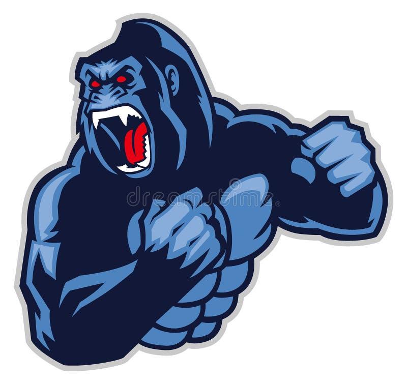 Gorila grande irritado ilustração stock