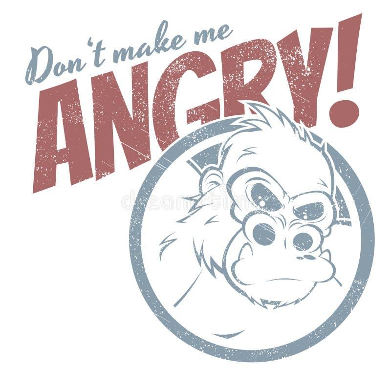 Gorila irritado dos desenhos animados ilustração stock