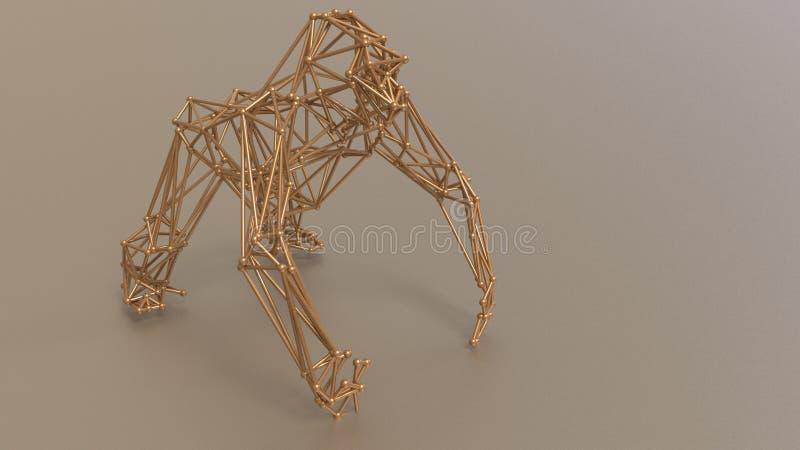 Gorila irritado feito com estrutura do efeito - 3D rendem ilustração royalty free