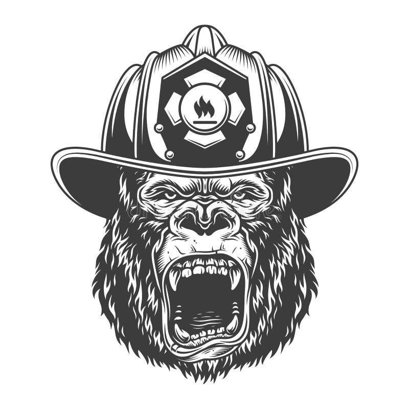 Gorila irritado no estilo monocromático ilustração stock