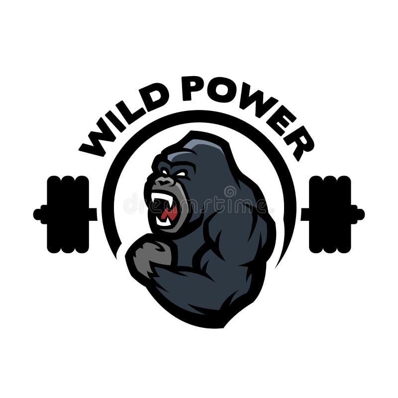 Gorila irritado Ostenta o logotipo do gym ilustração do vetor