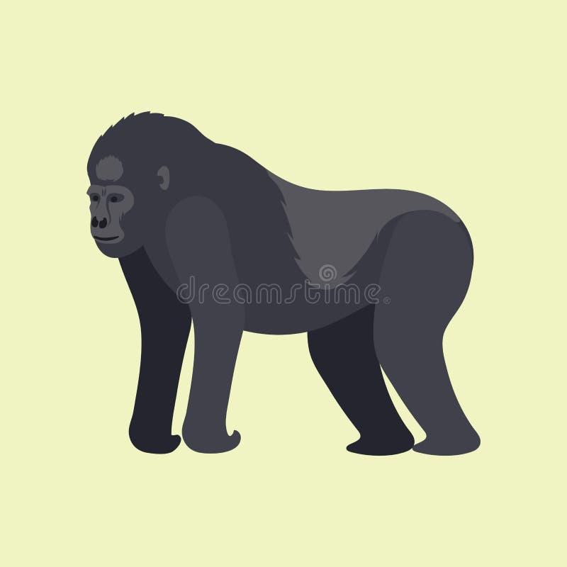 Gorila monkey rare animal vector cartoon macaque nature primate character wild zoo ape chimpanzee vector illustration