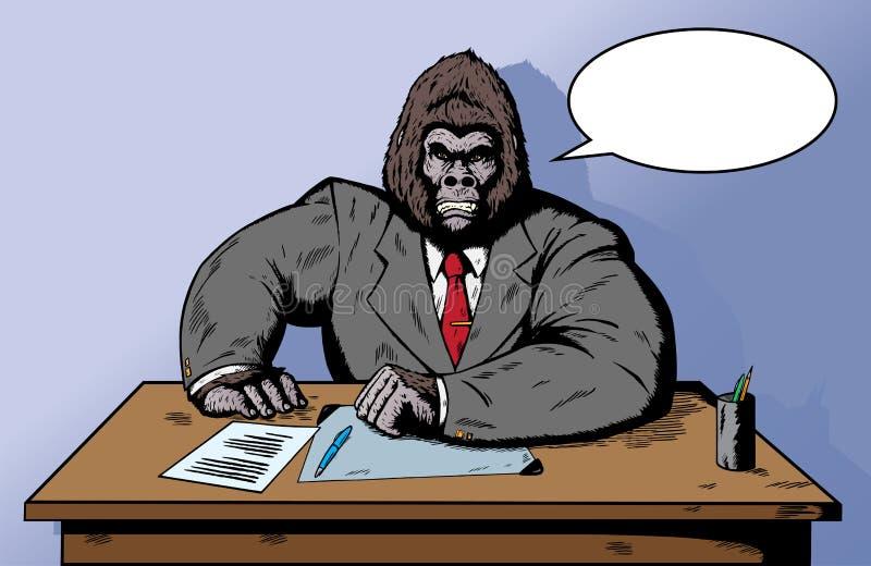 Gorila no terno na mesa ilustração stock