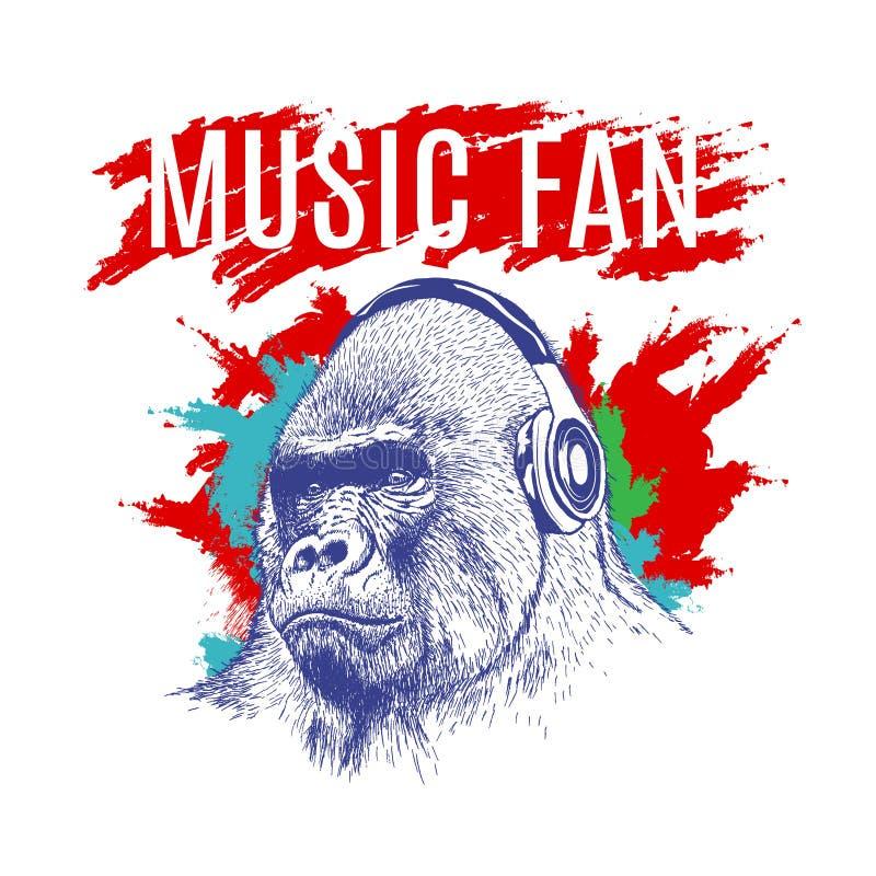 Gorila que escucha la música en los auriculares libre illustration