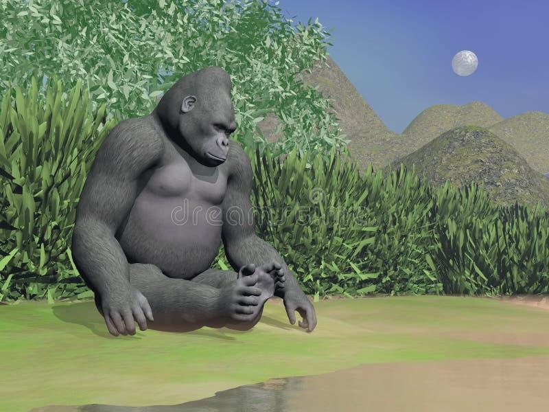 Gorila que piensa al lado del agua - 3D rinden ilustración del vector
