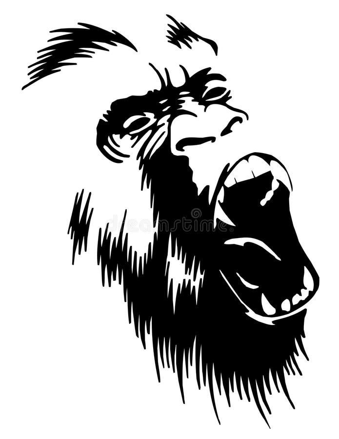 Gorila rujir ilustração do vetor