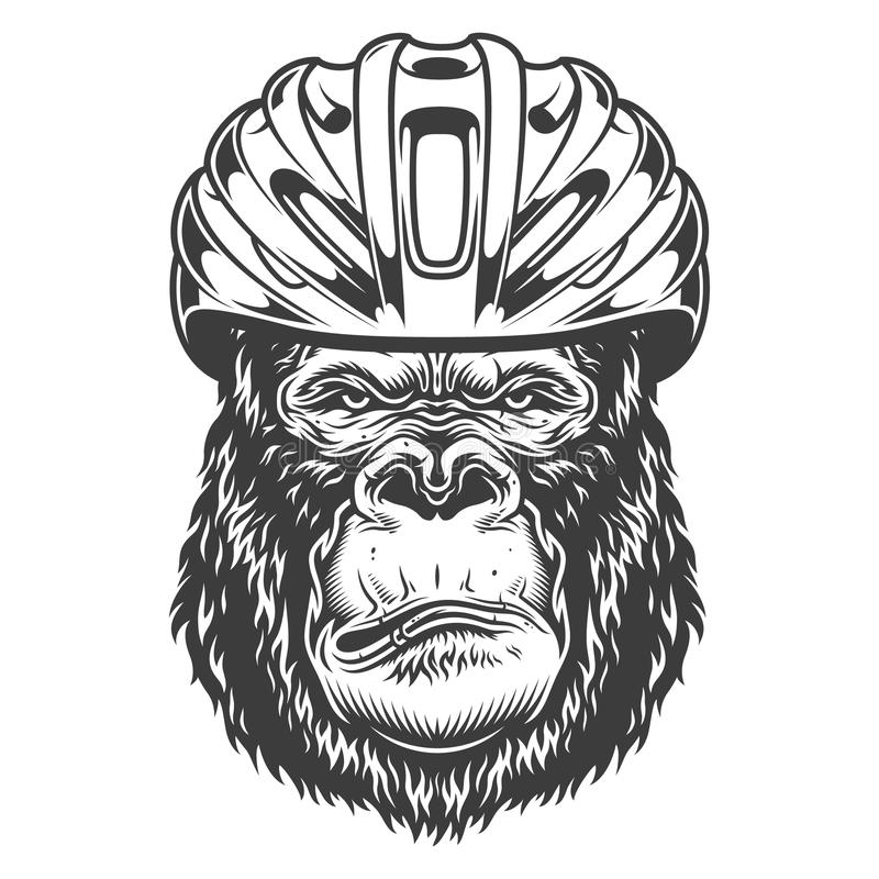 Gorila sério no estilo monocromático ilustração royalty free